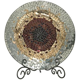 Dale Tiffany Copper Gold and Silver Mosaic Glass Charger   #X5064