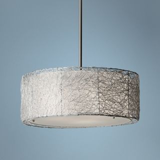 "Murray Feiss Wired 19 3/4"" Wide Brushed Steel Pendant Light   #X4096"