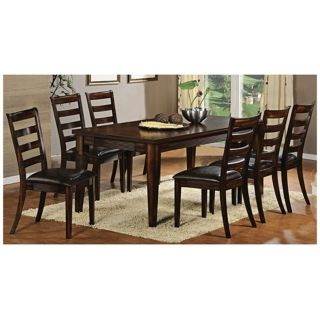 Set of 7 Cherry Wood Dark Faux Leather Seat Dining Set   #U1857