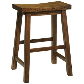 "Distressed Honey Brown Wood 24"" High Counter Stool   #H5636"