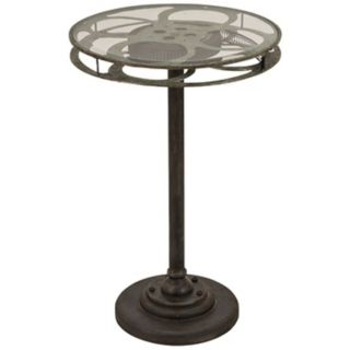 Film Reel Metal and Glass Accent Table   #Y2591