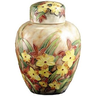 Dale Tiffany Springtime Hand Painted Porcelain Jar   #X5555