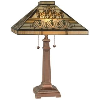 Dale Tiffany Honey Coffee Mission Style Table Lamp   #X2862