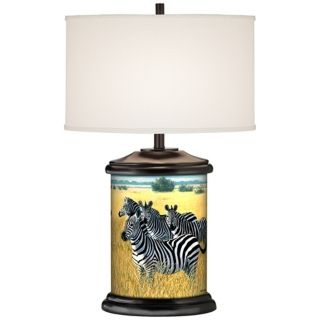 Zebra Family Giclee Art Base Table Lamp   #R2109 R7683