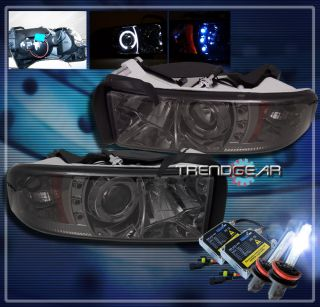 94 01 Dodge RAM Halo LED Projector Headlight HID 8K Lamp Smoke 95 96