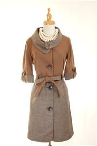 Auth Kate Spade French Vintage Style Wool Coat Brown 2