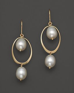 14K Yellow Gold Curved Oval Frame Pearl Earrings