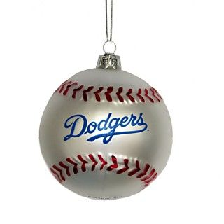Kurt Adler Dodgers Glass Baseball Ornament