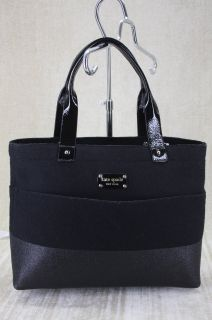 Kate Spade Quinn Black Metallic Frosted Felt Magazine Tote New $325