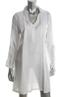 Kenneth Cole Reaction NEW White Pintuck Dress Cover Up Misses Swimwear