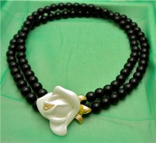 Kenneth Jay Lane KJL for Avon 2 Strand Black Bead Necklace with White