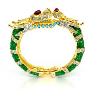 Kenneth Jay Lane KJL Green Enamel Dragon Bracelet