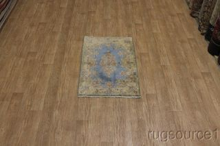 LIGHT BLUE FLORAL ANTIQUE 3X5 KERMAN PERSIAN ORIENTAL AREA RUG WOOL