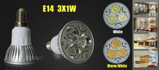 E14 Cool White 3x1W 3W High Power LED Lamp Light Bulb 85V 265V New