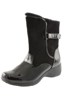 Khombu New Misty Black Patent Faux Fur Lined Waterproof Ankle Boots