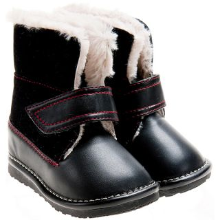 Girls Boys Toddler Childrens Leather Suede Squeaky Boots Black with