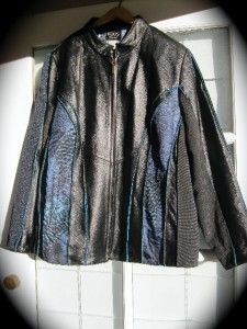 KOOS OF COURSE   1X   LOVELY LEATHER AND FABRIC ART TO WEAR JACKET