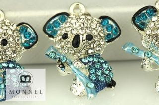 H516 Cute Blue Crystal Koala Bear Charm Pendant 3 Pcs