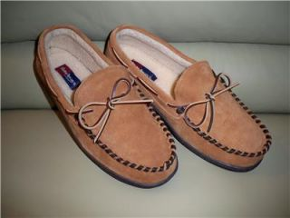 Hide Aways Suede Moccasin Slippers Sz8 Eee by lb Evans
