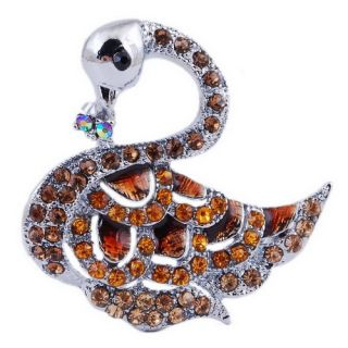 Unique Swan Pretty Alloy Gift Ladies Brooch Pin Crystal Rhinestone