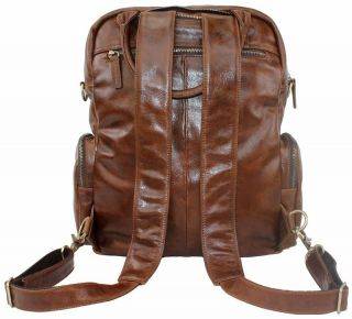 Men Ladies Women Genuine Cowhide Leather Travel Bag Backpack Laptop 14