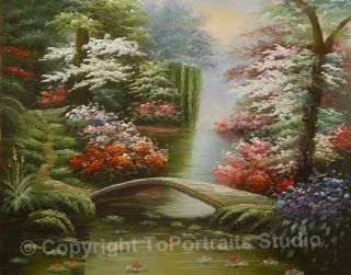 Japanese Garden Stream Original Canvas Art Oil Painting
