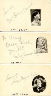 Three Stooges Curly Moe Howard Larry Fine Vintage 1934 Signed Cards
