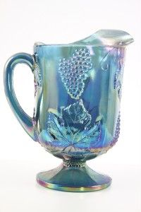 Indiana Blue Carnival Glass Harvest Grape & Leaf 10 Pitcher Ice Lip