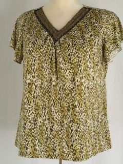 Susan Lawrence Brown Leopard Cheetah Stretch Jersey Top