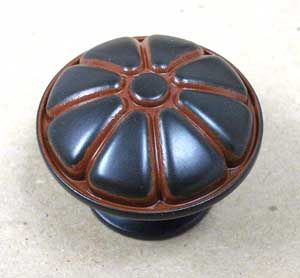 DK Green Burnt Orange Cabinet Drawer Knob Pull