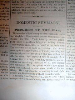 1863 Civil War Newspaper Lees Confederate Army Retreats aft Battle of