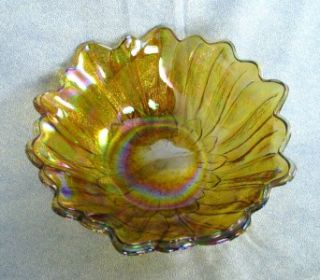 1960s 70s Indiana Glass Lily Pons Amber Carnival Bowl