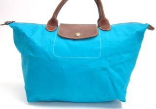 Longchamp Turquoise Canvas Leather Hobo Handbag