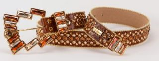 Simon Swarovski Crystal Gorgeous Creamy Caramel Italian Leather