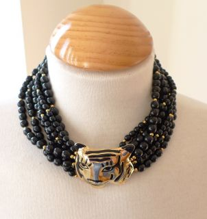Kenneth Jay Lane KJL Black Gold Beaded Tiger Necklace