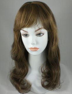 Long Dark Light Brown Straight Human Hair Wig w Bangs