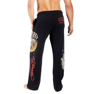Ed Hardy 9057JP Mens Bulldog Michael Jackson Lounge Black Pants