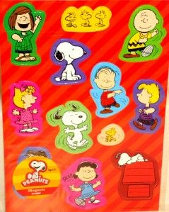 12 Peanuts Magnets Locker Fridge Magnet Set Party Favors Snoopy