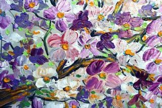 Original Modern Painting Magnolia Flowers Tree Impasto Oil Art by