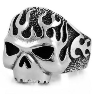 Size 8 13 Mens Silver Stainless Steel Skull Big Heavy Biker Rings Band
