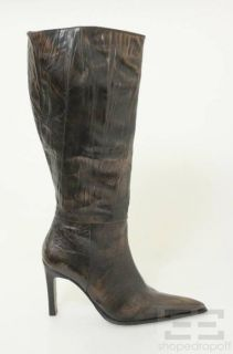 Marina Rinaldi Dark Brown Textured Leather Knee High Boots Size 40
