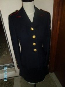 USMC Marine Corps Woman Blue Dress Uniform Jacket&Skirt100% Wool 10R