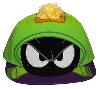 Marvin The Martian Looney Tunes Face Adult Adjustable Flat Bill Hat