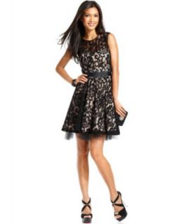 Betsy & Adam Dress, Sleeveless Belted Lace A Line
