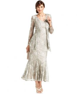 Onyx Dress and Jacket, Sleeveless Metallic Lace Gown   Womens Dresses