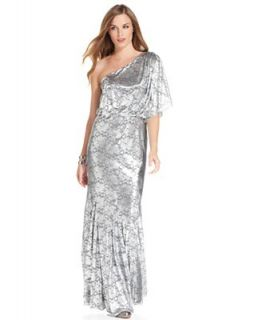 Adrianna Papell Dress, Short Sleeve One Shoulder Metallic Lace Gown