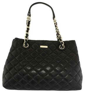 Kate Spade Gold Coach Maryanne Black Quilted Handbag New