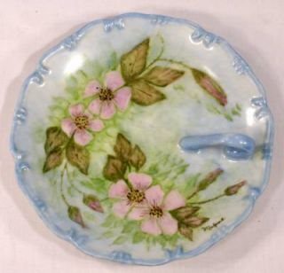 Vintage Hand Painted Porcelain Blue Nappy Dish Signed