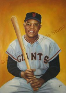 Willie Mays San Francisco Giants Canvas Oil Painting