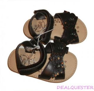 New Toddler Baby Girls Ellemenno Brown Butterfly Velcro Sandals Size 5